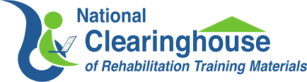 National Clearinghouse of Rehabilitation Training Materials Green and Navy Blue logo with image of person figure accessing technology under the roof of a house.