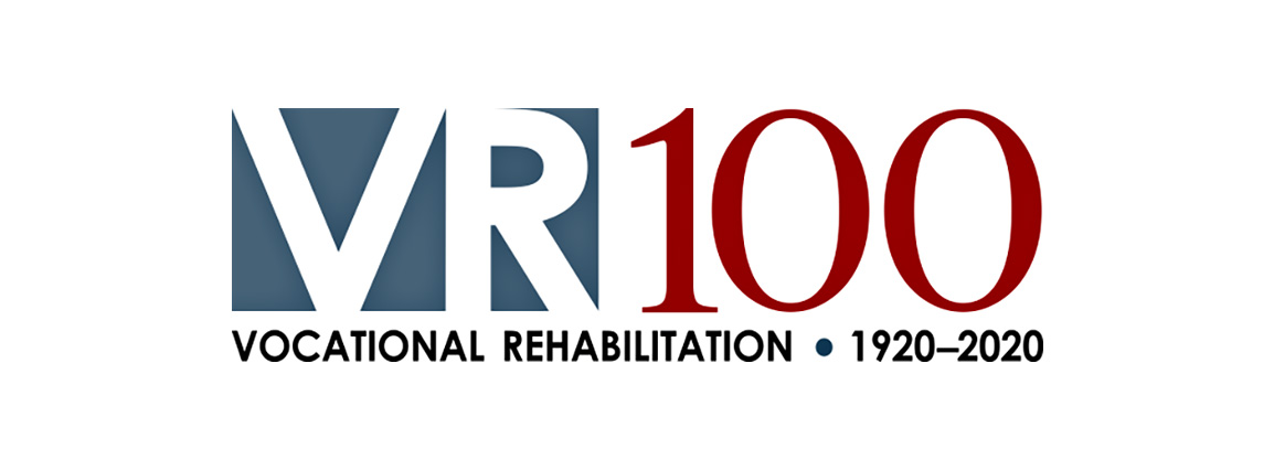 VR100 logo - Vocational Rehabilitation, 1920-2020